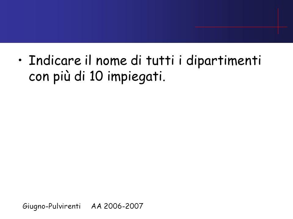 Giugno-Pulvirenti AA 2006-2007 Dato lo schema: impiegato(i_id, i_nome, eta, stipendio); dipartimento(d_id, d_nome, budget, manager_id); lavora(i_id, d