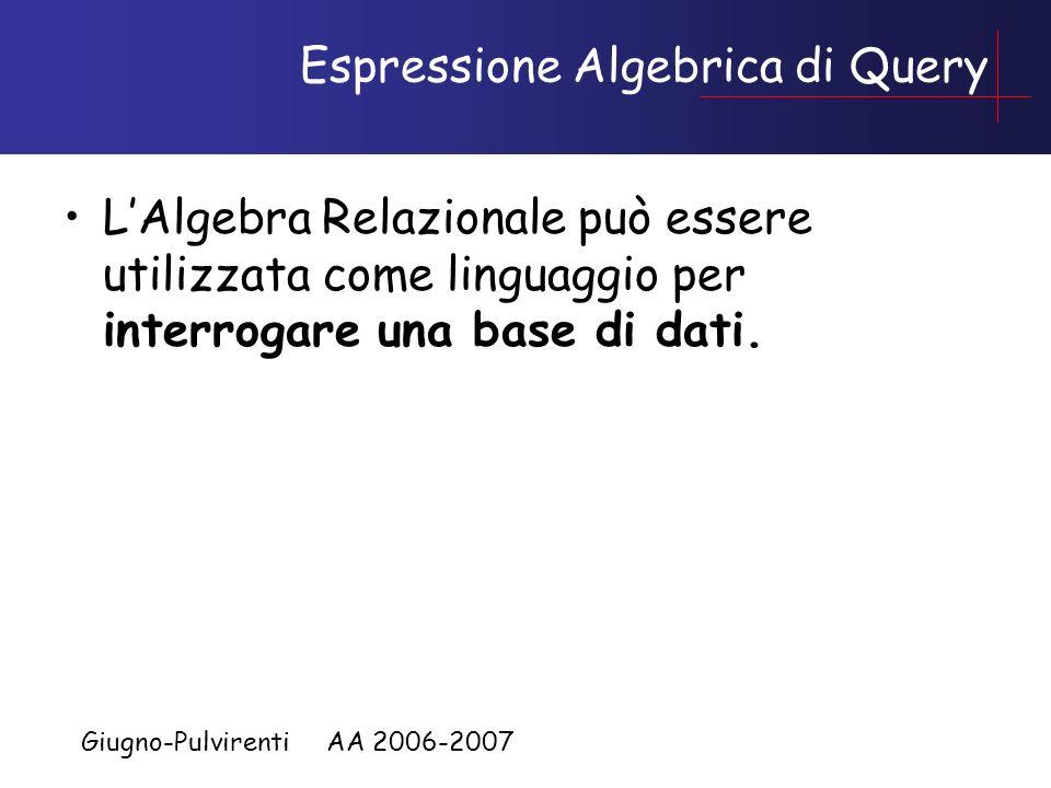 Giugno-Pulvirenti AA 2006-2007 Espressione Algebrica di Query LAlgebra Relazionale può essere utilizzata come linguaggio per interrogare una base di dati.