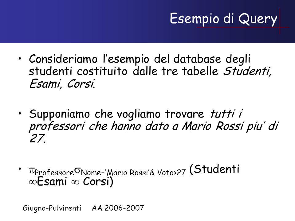 Giugno-Pulvirenti AA 2006-2007 Esempio di Query Consideriamo lesempio del database degli studenti costituito dalle tre tabelle Studenti, Esami, Corsi.