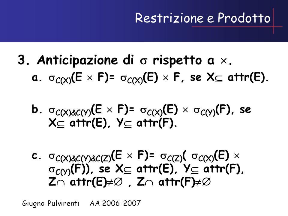Giugno-Pulvirenti AA 2006-2007 Regole sulla restrizione 1.Raggruppamento di restrizioni a. C(X) ( C(Y) (E))= C(X)&C(Y) (E) 2.Commutativita di e a. C(X