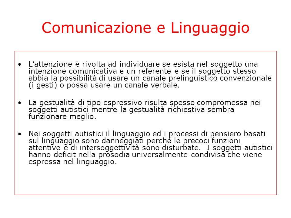 Comunicazione e Linguaggio Lattenzione è rivolta ad individuare se esista nel soggetto una intenzione comunicativa e un referente e se il soggetto ste