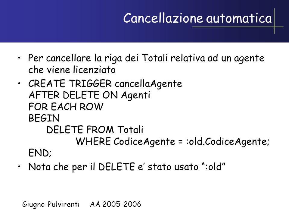 Giugno-Pulvirenti AA 2005-2006 Creazione ed aggiornamento automatico di una tabella CREATE TABLE Totali(CodiceAgente CHAR(3), TotaleOrdini INTEGER) CR