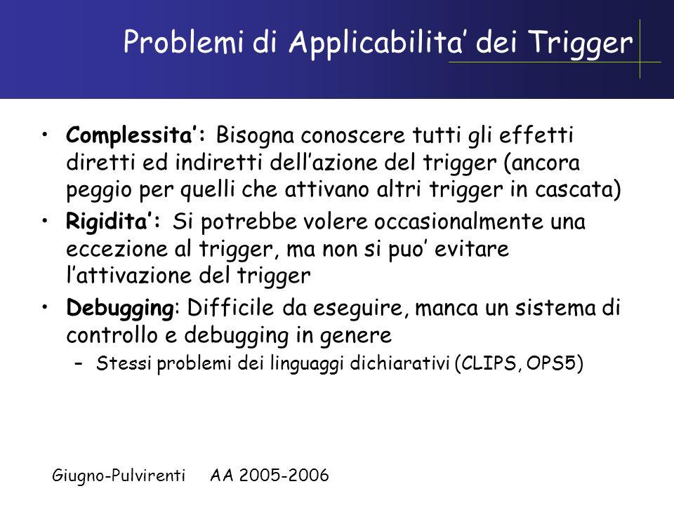 Giugno-Pulvirenti AA 2005-2006 Vantaggi sulluso dei Trigger Knowledge Independence, si semplificano le applicazioni che non devono fare i controlli de