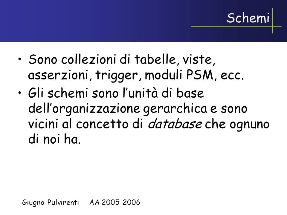 Basi di dati I Prof.ssa Rosalba Giugno Prof. Alfredo Pulvirenti Aspetti sistemistici dellSQL