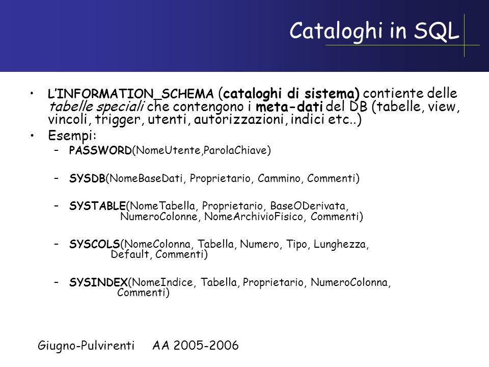 Giugno-Pulvirenti AA 2005-2006 Cataloghi Sono collezioni di schemi. Ogni catalogo ha uno o più schemi. Ogni catalogo ha uno schema speciale chiamato I