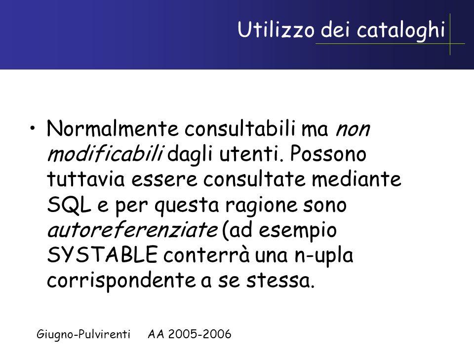 Giugno-Pulvirenti AA 2005-2006 Altri Cataloghi Una decina di altre tabelle per view, vincoli, grant ecc.. Altri riguardano aspetti quantitativi sui da