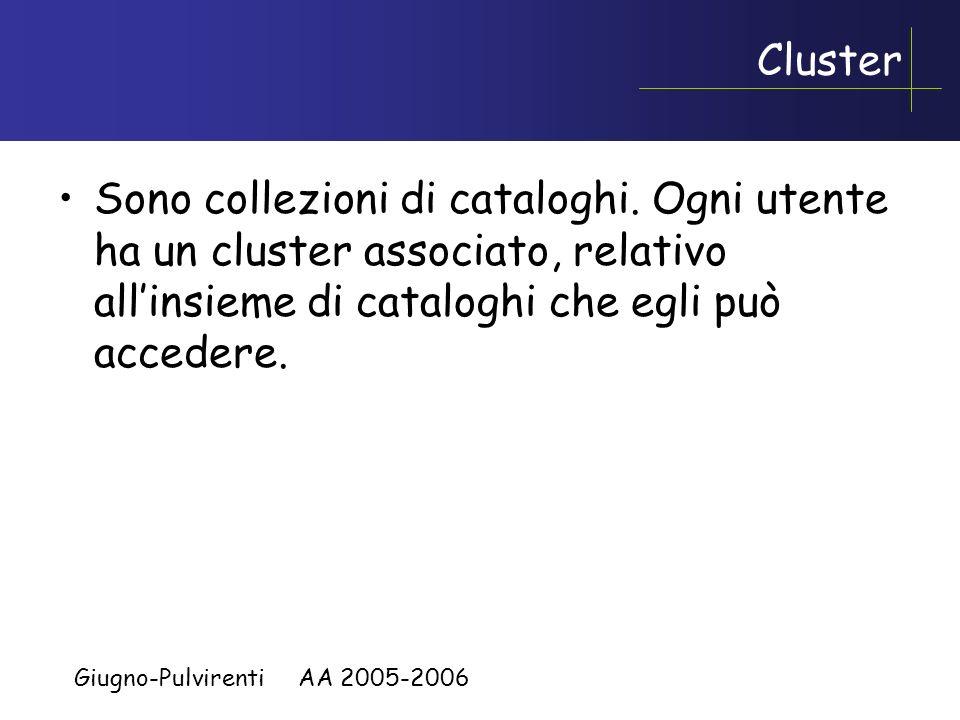 Giugno-Pulvirenti AA 2005-2006 Utilizzo dei cataloghi Normalmente consultabili ma non modificabili dagli utenti. Possono tuttavia essere consultate me