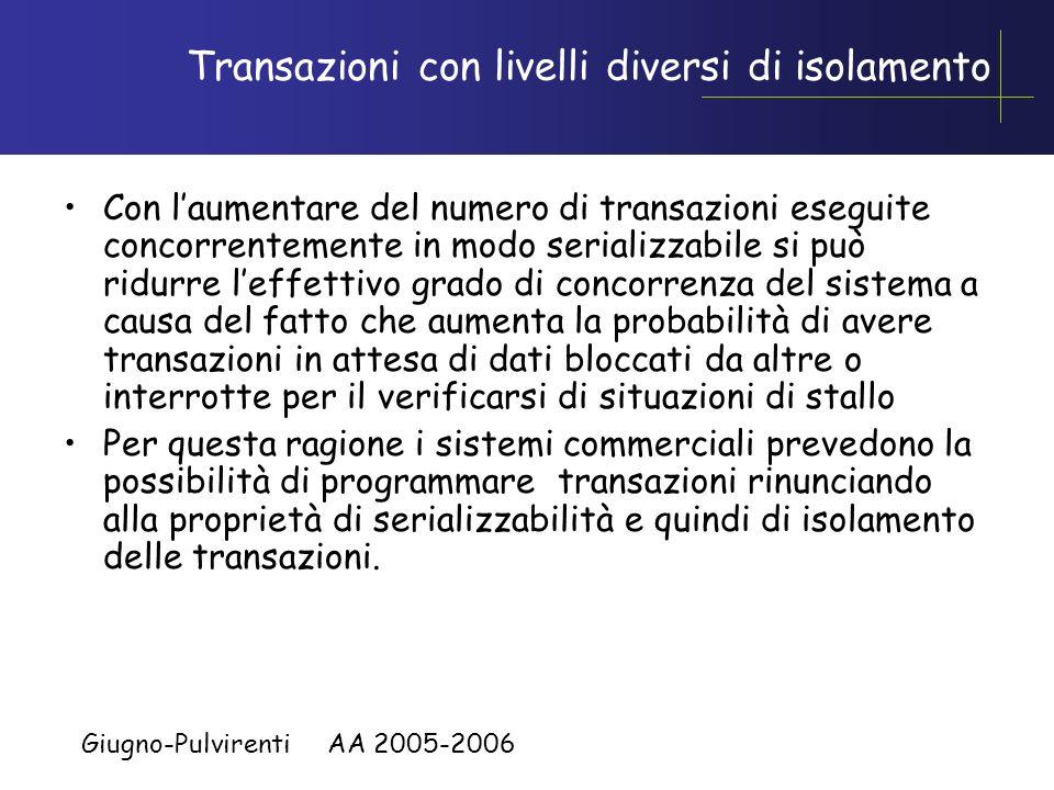 Giugno-Pulvirenti AA 2005-2006 Interruzione di transazioni La transazione prosegue finché: –viene eseguito EXEC SQL COMMIT WORK : la transazione termi