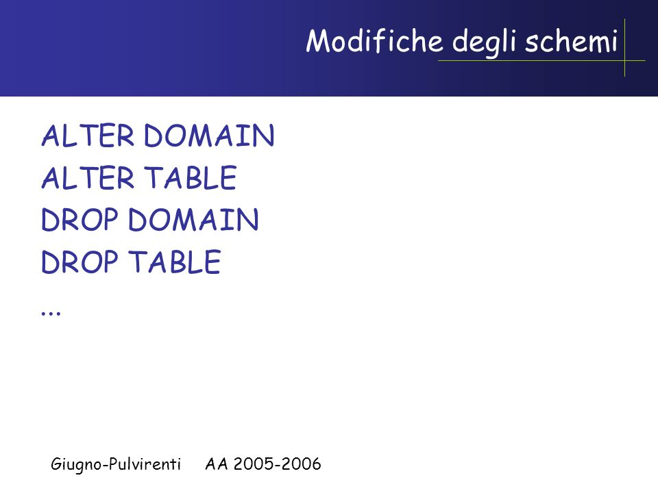 Giugno-Pulvirenti AA 2005-2006 CREATE TABLE, esempio CREATE TABLE Infrazioni( Codice CHAR(6) NOT NULL PRIMARY KEY, Data DATE NOT NULL, Vigile INTEGER
