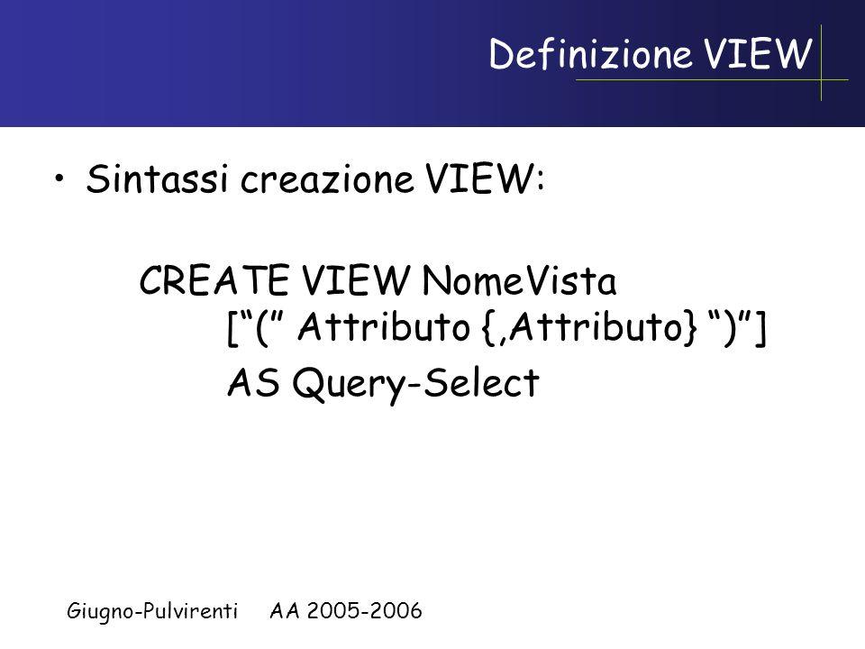 Giugno-Pulvirenti AA 2005-2006 Viste (View) Oltre alle tabelle di base che fanno parte dello schema si possono creare delle tabelle ausiliarie virtual