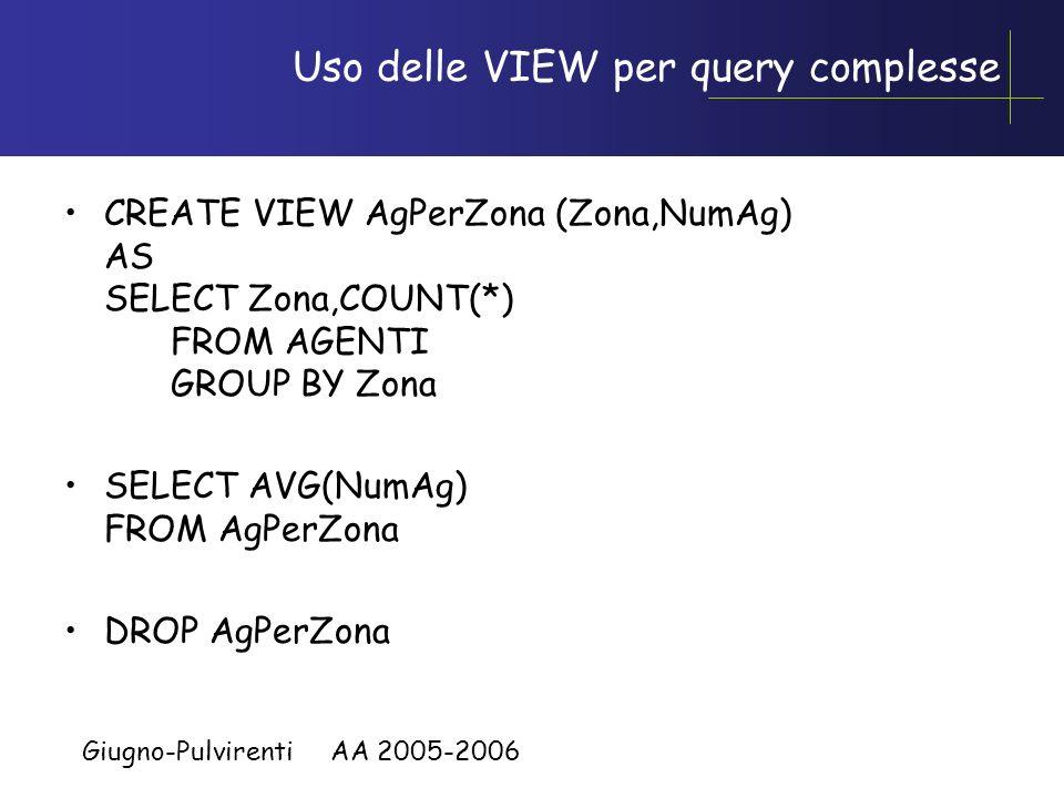 Giugno-Pulvirenti AA 2005-2006 Uso delle VIEW per query complesse Semplificare query complesse Esempio: non possiamo scrivere SELECT AVG(COUNT(*)) FRO