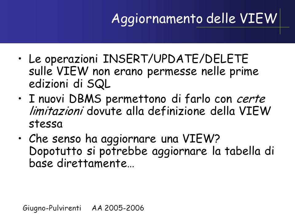 Giugno-Pulvirenti AA 2005-2006 Mascherare lorganizzazione logica dei dati tramite VIEW Immaginiamo la seguente tabella: –Agenti( CodiceAgente, Nome, Z