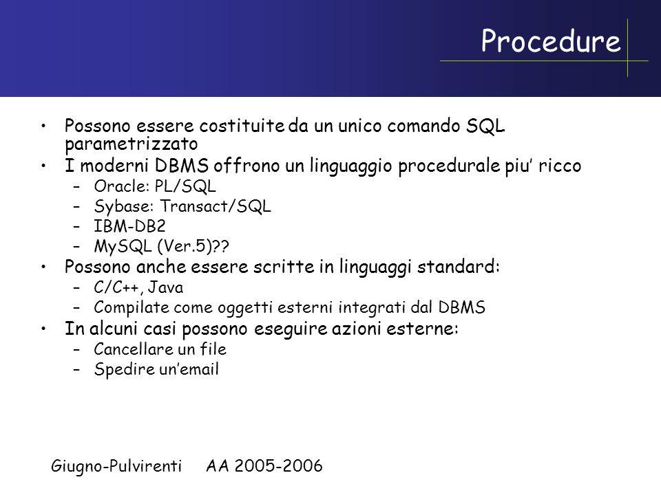Giugno-Pulvirenti AA 2005-2006 Aspetti procedurali dei DBMS Procedure: Programmi memorizzati nel DBMS che vengono eseguiti su esplicita richiesta degl