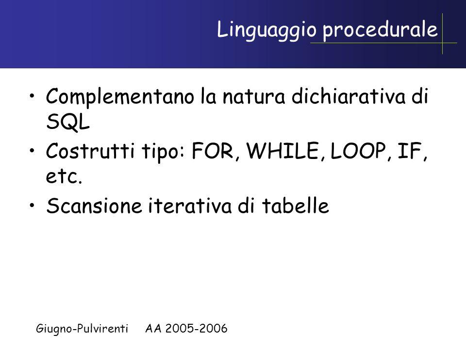 Giugno-Pulvirenti AA 2005-2006 Procedure Possono essere costituite da un unico comando SQL parametrizzato I moderni DBMS offrono un linguaggio procedu