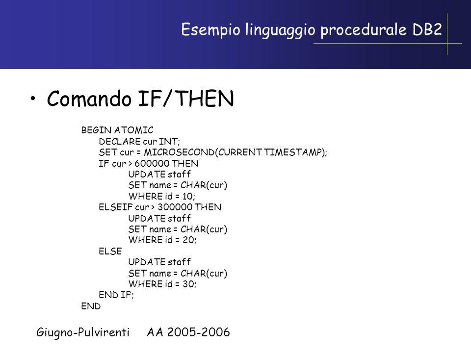 Giugno-Pulvirenti AA 2005-2006 Linguaggio procedurale Complementano la natura dichiarativa di SQL Costrutti tipo: FOR, WHILE, LOOP, IF, etc. Scansione