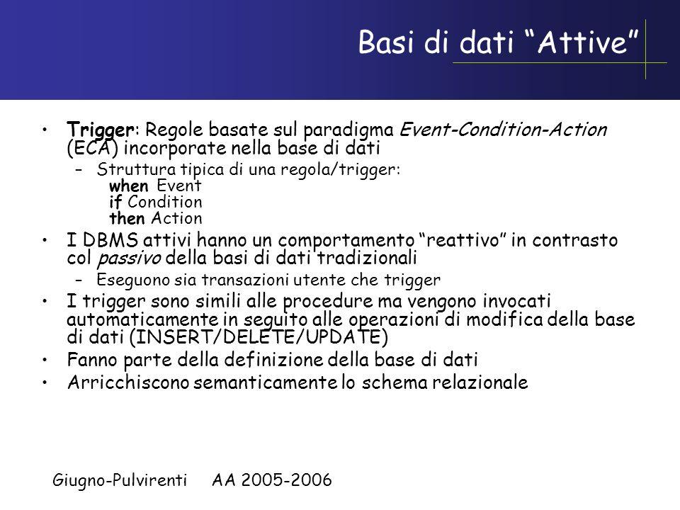 Giugno-Pulvirenti AA 2005-2006 Vantaggi delle procedure Riducono il traffico sulla rete dovuto ad applicazioni remote, infatti invece di agire interat