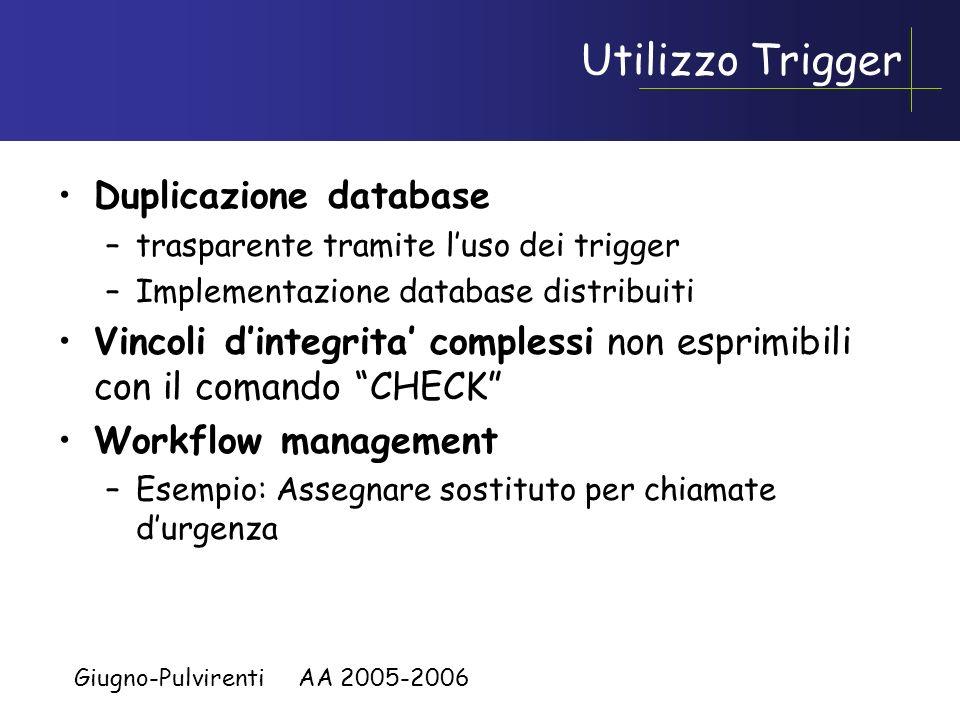Giugno-Pulvirenti AA 2005-2006 Utilizzo trigger Business rules, parte della procedura di business applicativa (normalmente eseguite in modo asincrono