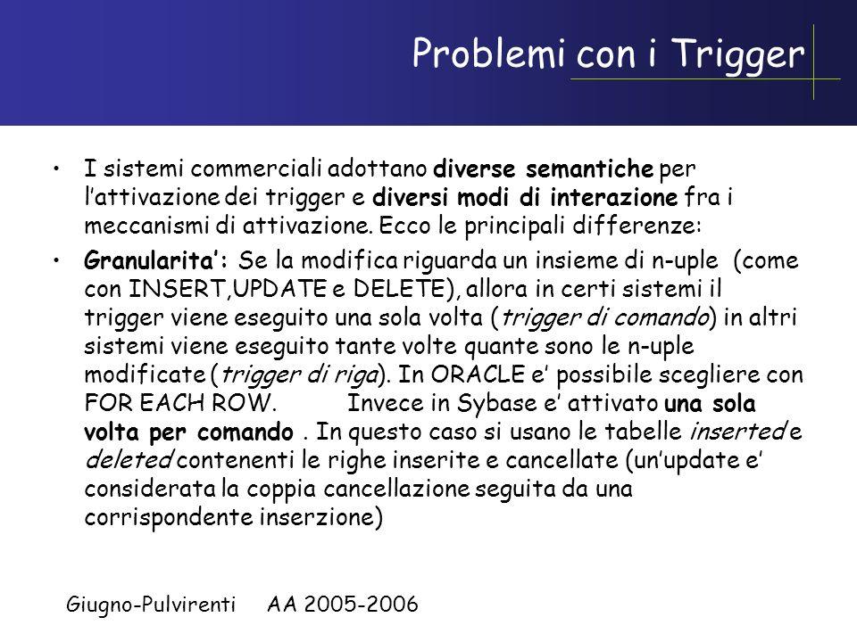 Giugno-Pulvirenti AA 2005-2006 Esempio esecuzione trigger,cont Aldo73 Maria73 Luca89 Piero121 Mario97 Il trigger ControlloStipendio parte di nuovo: Ri