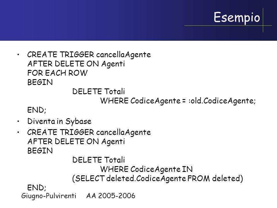 Giugno-Pulvirenti AA 2005-2006 Granularita Due tipi: –Row-level –Statement-level Row-level –Il trigger viene eseguito una volta per ogni tupla coinvol