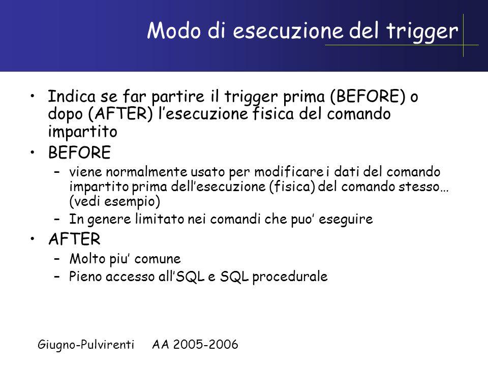 Giugno-Pulvirenti AA 2005-2006 Tuple e Tabelle di transizione Tuple e tabelle temporanee visibili allinterno del trigger eseguito che contengono la po