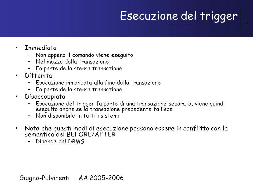 Giugno-Pulvirenti AA 2005-2006 Esempio granularita per AFTER in DB2 create table progetti( codice char(10) not null primary key, Inizio date, Durata i