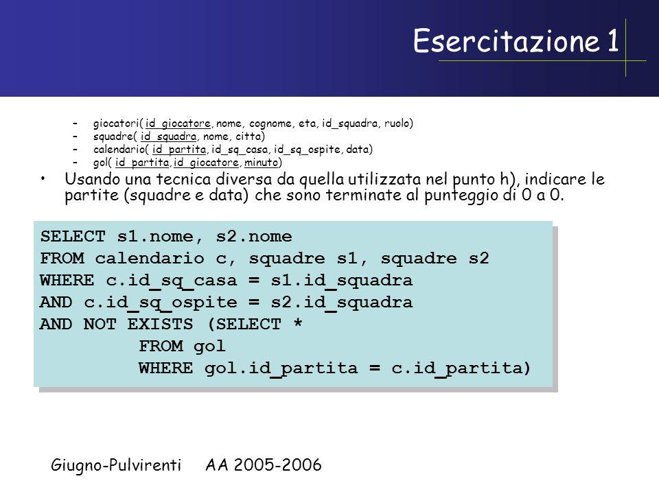 Giugno-Pulvirenti AA 2005-2006 Esercitazione 2 Considera una relazione con un solo attributo R(A).