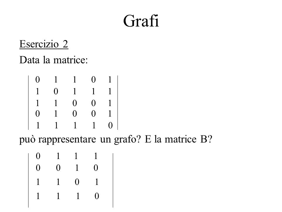 Grafi Esercizio 2 Data la matrice: può rappresentare un grafo? E la matrice B? 01101 10111 11001 01001 11110 0111 1 1 0100 110 110