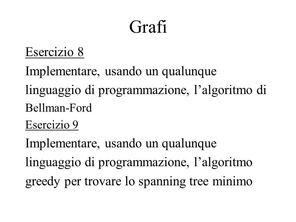 Grafi Esercizio 8 Implementare, usando un qualunque linguaggio di programmazione, lalgoritmo di Bellman-Ford Esercizio 9 Implementare, usando un qualu