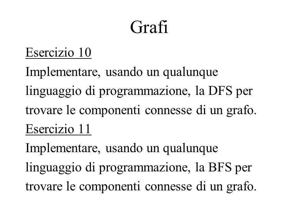 Grafi Esercizio 10 Implementare, usando un qualunque linguaggio di programmazione, la DFS per trovare le componenti connesse di un grafo. Esercizio 11
