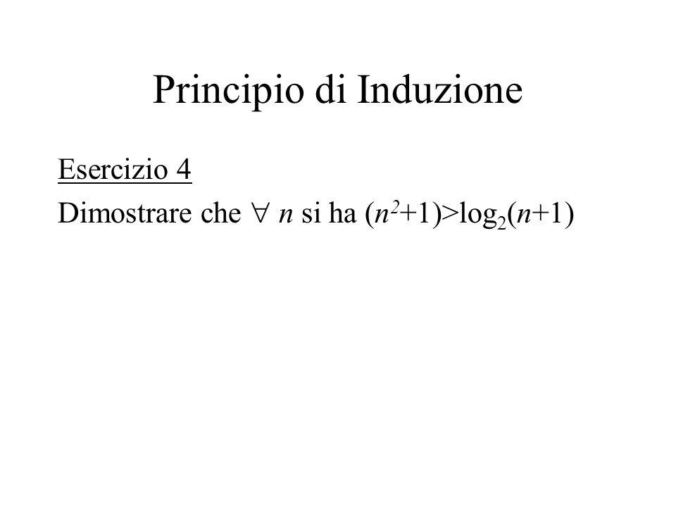 Principio di Induzione Esercizio 4 Dimostrare che n si ha (n 2 +1)>log 2 (n+1)