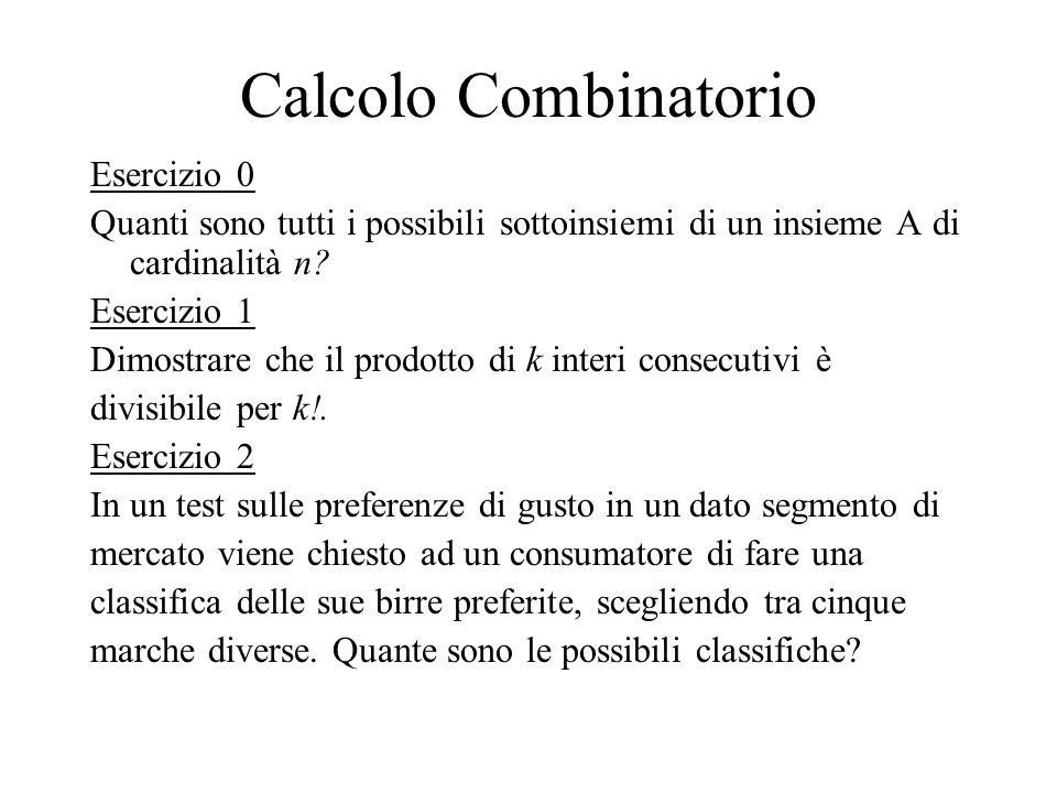 Esercizio 0 Quanti sono tutti i possibili sottoinsiemi di un insieme A di cardinalità n? Esercizio 1 Dimostrare che il prodotto di k interi consecutiv