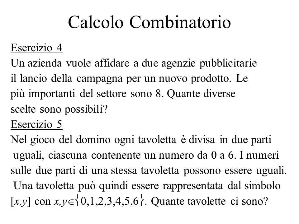 Calcolo Combinatorio Esercizio 4 Un azienda vuole affidare a due agenzie pubblicitarie il lancio della campagna per un nuovo prodotto. Le più importan