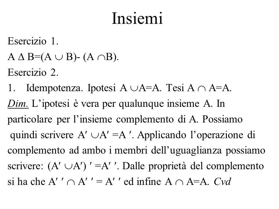 Insiemi Esercizio 1. A B=(A B)- (A B). Esercizio 2. 1.Idempotenza. Ipotesi A A=A. Tesi A A=A. Dim. Lipotesi è vera per qualunque insieme A. In partico