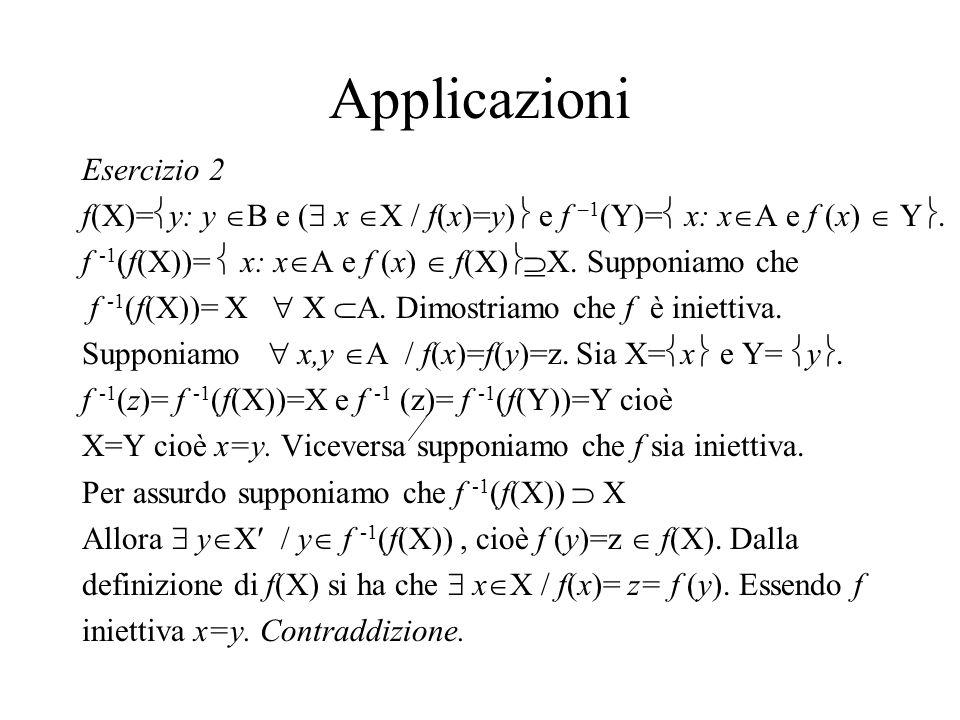 Applicazioni Esercizio 2 f(X)= y: y B e ( x X / f(x)=y) e f –1 (Y)= x: x A e f (x) Y. f -1 (f(X))= x: x A e f (x) f(X) X. Supponiamo che f -1 (f(X))=