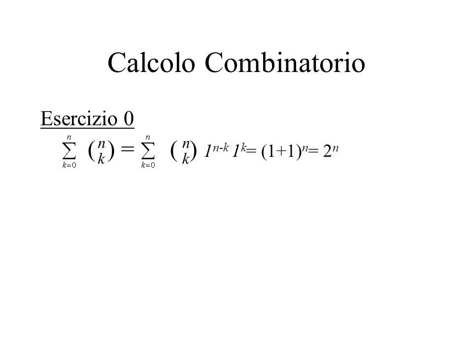 Calcolo Combinatorio Esercizio 0 ( ) = ( ) 1 n-k 1 k = (1+1) n = 2 n n k n k