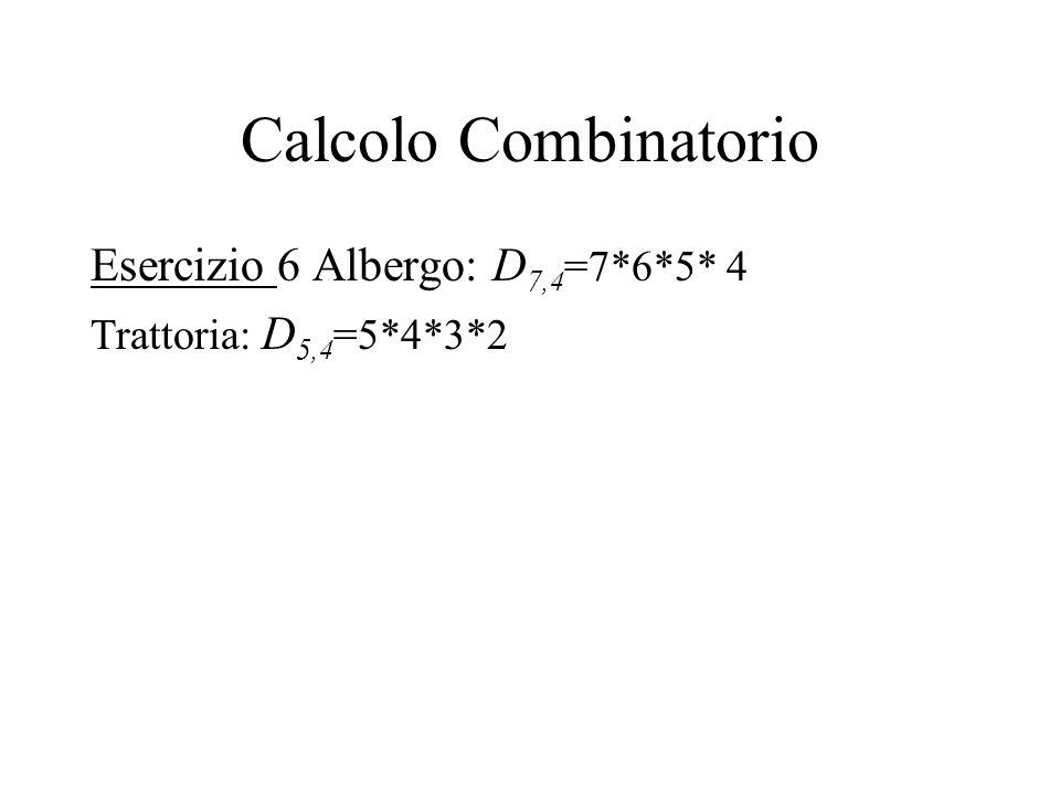 Calcolo Combinatorio Esercizio 6 Albergo: D 7,4 =7*6*5* 4 Trattoria: D 5,4 =5*4*3*2