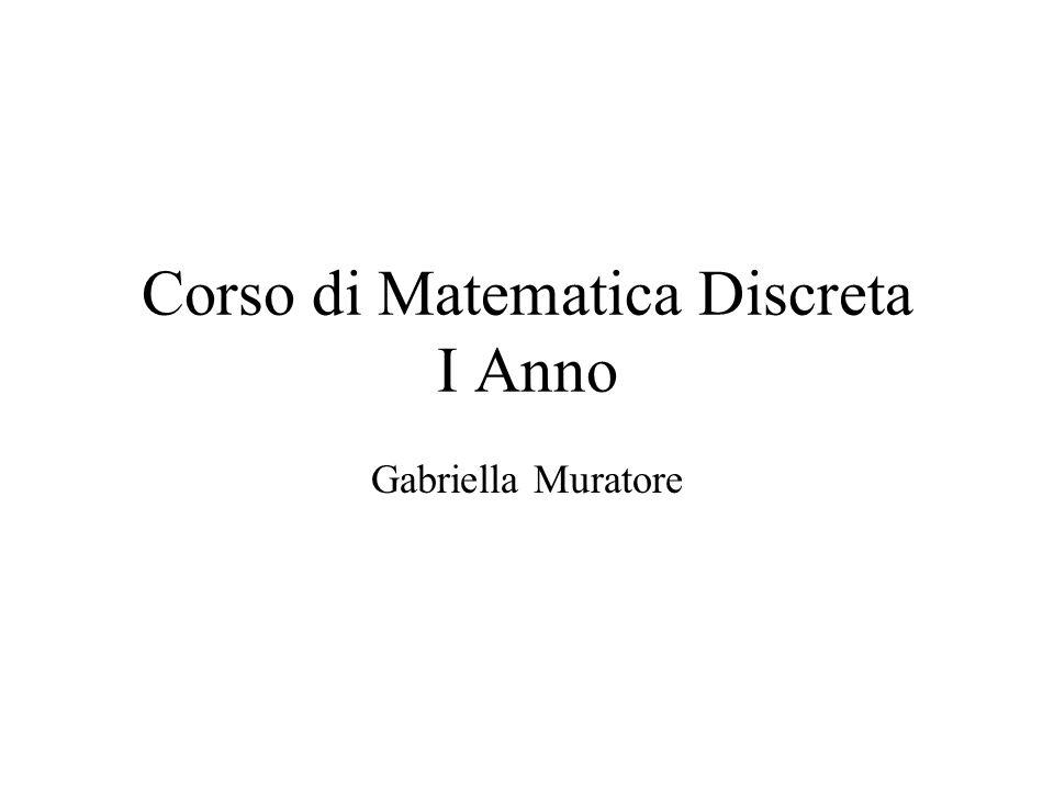 Corso di Matematica Discreta I Anno Gabriella Muratore