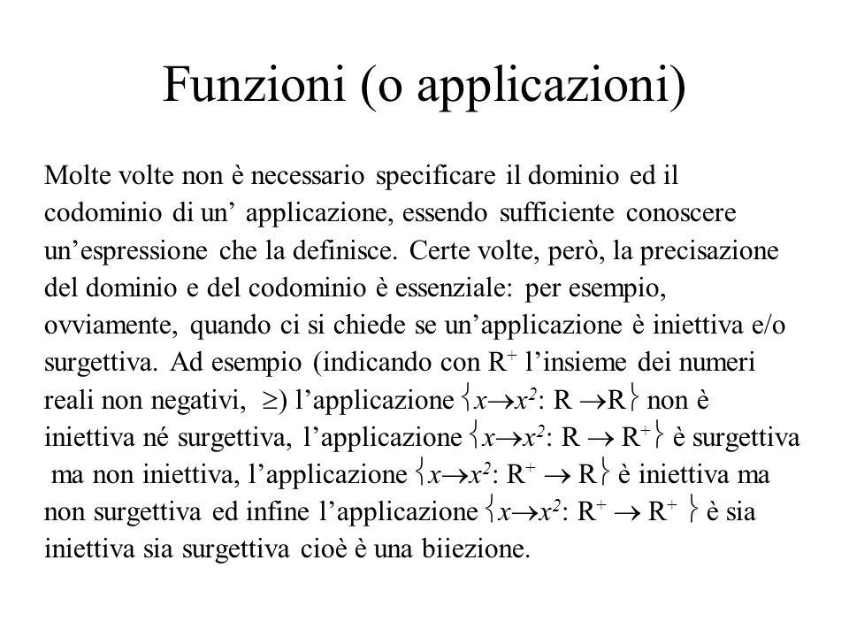 Funzioni (o applicazioni) Molte volte non è necessario specificare il dominio ed il codominio di un applicazione, essendo sufficiente conoscere unespr