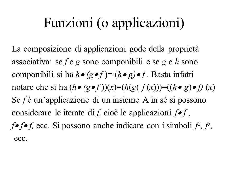 Funzioni (o applicazioni) La composizione di applicazioni gode della proprietà associativa: se f e g sono componibili e se g e h sono componibili si h