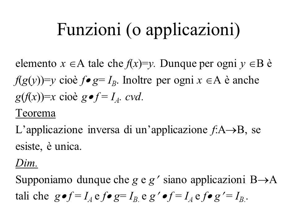Funzioni (o applicazioni) elemento x A tale che f(x)=y. Dunque per ogni y B è f(g(y))=y cioè f g= I B. Inoltre per ogni x A è anche g(f(x))=x cioè g f