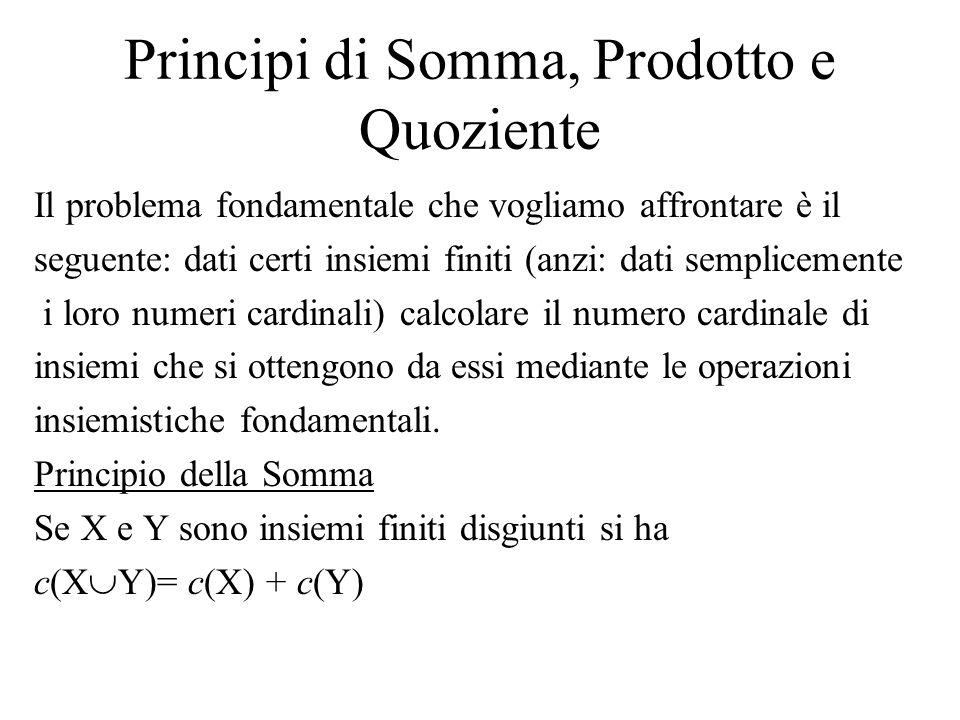 Principi di Somma, Prodotto e Quoziente Il problema fondamentale che vogliamo affrontare è il seguente: dati certi insiemi finiti (anzi: dati semplice