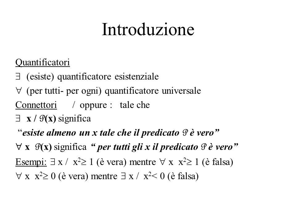 Introduzione Quantificatori (esiste) quantificatore esistenziale (per tutti- per ogni) quantificatore universale Connettori / oppure : tale che x / P