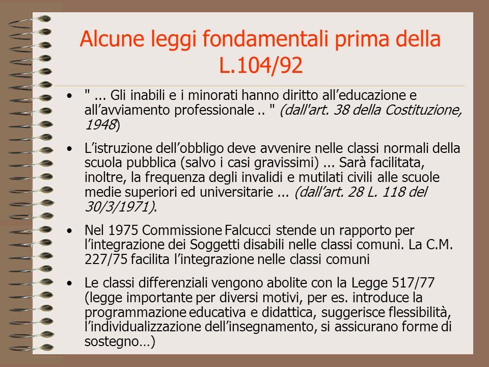 Alcune leggi fondamentali prima della L.104/92