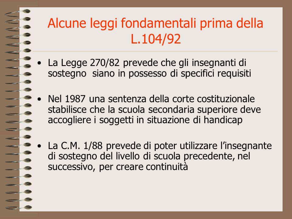Alcune leggi fondamentali prima della L.104/92 La Legge 270/82 prevede che gli insegnanti di sostegno siano in possesso di specifici requisiti Nel 198