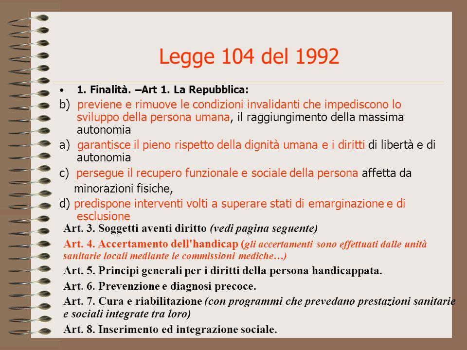 Legge 104 del 1992 1. Finalità. –Art 1. La Repubblica: b) previene e rimuove le condizioni invalidanti che impediscono lo sviluppo della persona umana