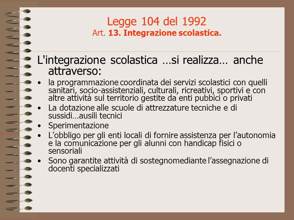 Legge 104 del 1992 Art. 13. Integrazione scolastica. L'integrazione scolastica …si realizza… anche attraverso: la programmazione coordinata dei serviz