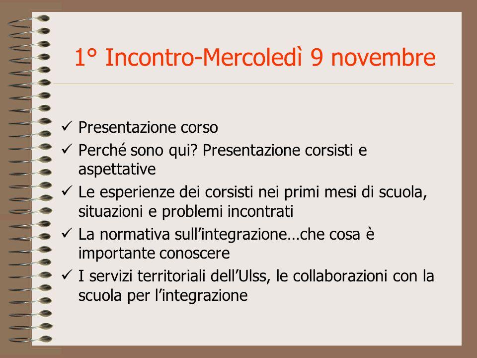 1° Incontro-Mercoledì 9 novembre Presentazione corso Perché sono qui? Presentazione corsisti e aspettative Le esperienze dei corsisti nei primi mesi d