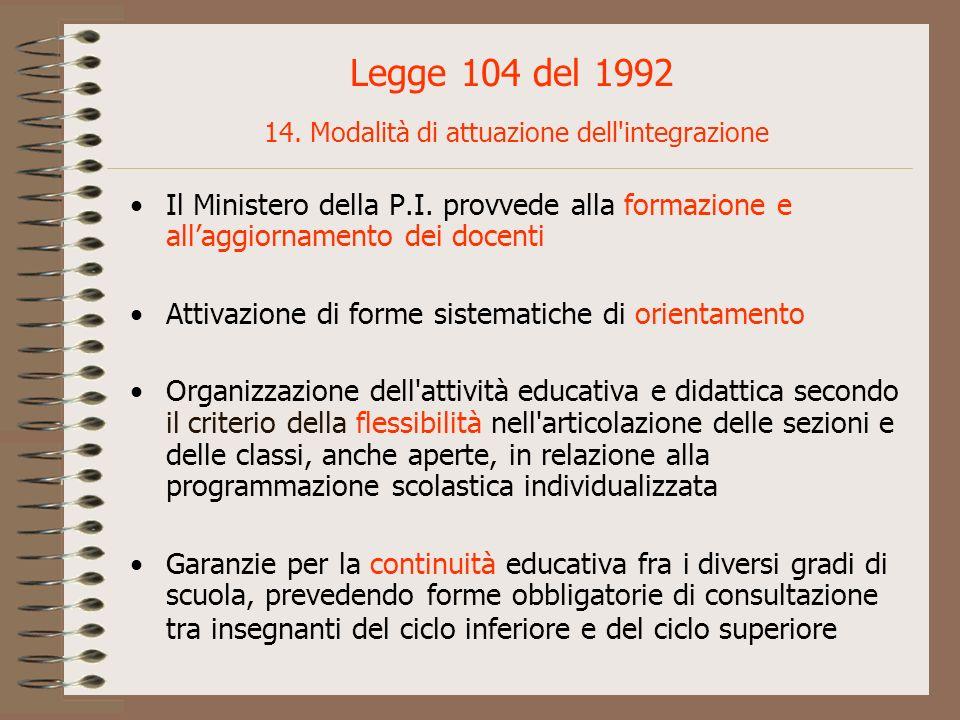 Legge 104 del 1992 14. Modalità di attuazione dell'integrazione Il Ministero della P.I. provvede alla formazione e allaggiornamento dei docenti Attiva