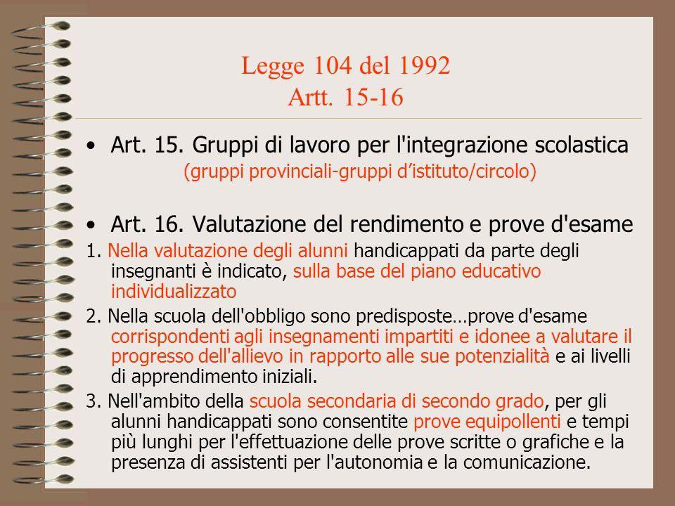 Art. 15. Gruppi di lavoro per l'integrazione scolastica (gruppi provinciali-gruppi distituto/circolo) Art. 16. Valutazione del rendimento e prove d'es