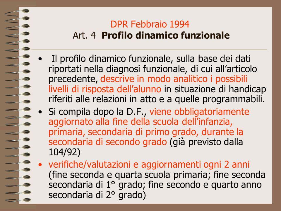 DPR Febbraio 1994 Art. 4 Profilo dinamico funzionale Il profilo dinamico funzionale, sulla base dei dati riportati nella diagnosi funzionale, di cui a